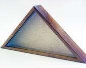 USA Flag Case - Walnut, Museum Glass, Brass Plaque