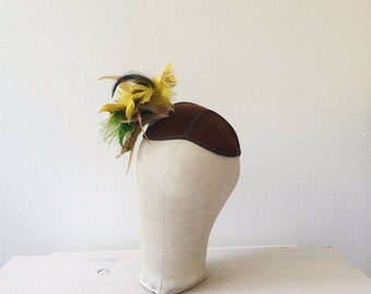 1940s hat / Felt & Feathers hat / Pirch 1940s hat