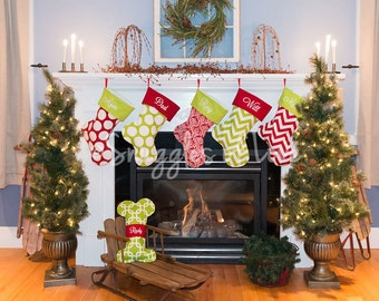CHRISTMAS STOCKING PERSONALIZED, Design Your Own, Personalized Christmas Stocking - 16 Fabrics - Dots, Damask, Chevron, Deer, Stripe