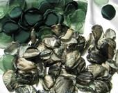 200 Green CAMOUFLAGE PETALS, organza petals and satin PETALS by Jilliann's