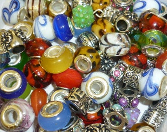 Grab BAG 20 European Beads  Beads Murano glass beads Crystal beads Spacer silver beads
