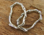 Organic Twig Oval Links - Artisan Sterling Silver Branch Links - loto