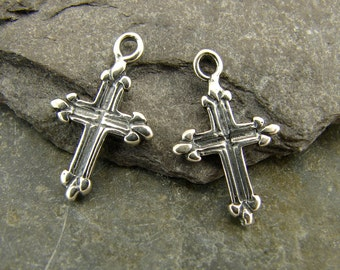 Sterling Silver Charms - Tiny Sterling Silver Cross - One Pair - ctssc