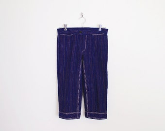 Vintage 90s Navy Blue Whip Stitch Whipstitch Woven Pant Crop Pant Capri Pant 70s Pant Hippie Pant Hippy Pant Boho Pant Women XS Extra Small