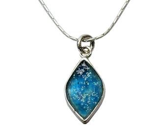 Blue Roman Glass Pendant, Diamond Shaped Pendant, Anicient Roman Glass Sterling Silver Jewelry, Israel Jewelry, Small Modern Design Pendant
