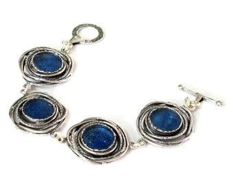 Blue Roman Glass Fantasy Bracelet, Boho Chic Silver Bracelet, Roman Glass Artisan Bracelet, Silver Wire Roman Glass Bracelet, Israel Jewelry