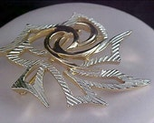 Mid Century SARAH COVENTRY - Silver & Gold Plate Modernistic Brooch