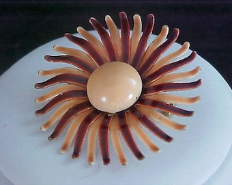 Charming FALL DAISY - All Metal Shades of Brown & Beige Brooch