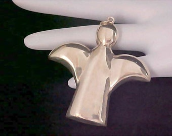 PUFFY CHRISTMAS ANGEL ~ Vintage Estate Gold Plated Angel Pendant