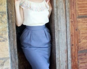 Periwinkle linen wiggle skirt- Small- beautiful ON HOLD