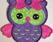 Girly Owl - Iron On or Sew On Embroidered Custom Made Appique