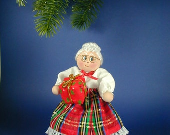 Mrs Claus Clothespin Ornament Doll/African American Mrs Claus