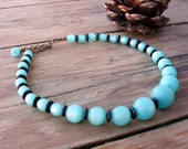 Turquoise Teal Blue Green Moonglow Acrylic Bead Choker