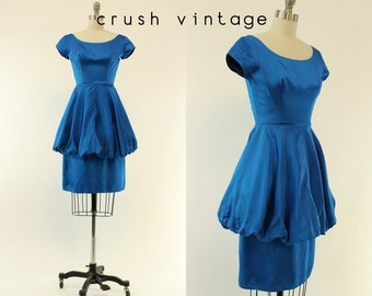 50s Dress Satin XS / 1950s Vintage Dress Bubble Skirt /  Adirondack Blue Dress