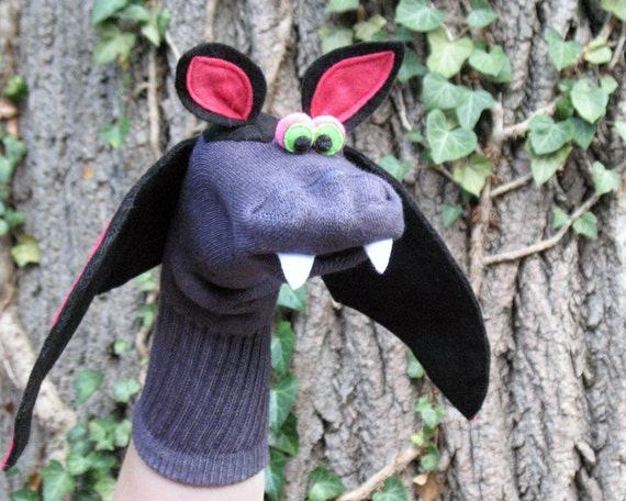 SALE Handmade Bat Sock Puppet