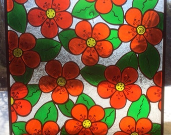 "Flower power stained glass panel transom window 20.25"" x 20.25"""