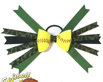 Softball Hair Bow - Green Camouflage