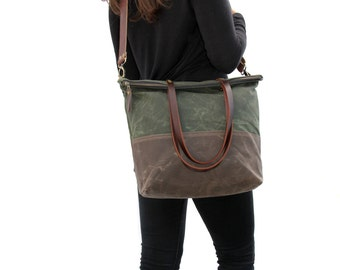 Waxed Canvas Tote Olive and Brown with Cross Body Leather Strap and Leather Handles