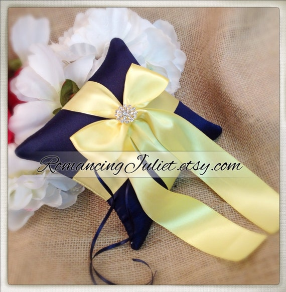 Romantic Satin Mini Ring Bearer Pillow with Rhinestone Accent...You Choose the Colors...BOGO Half Off... shown in navy blue/butter yellow