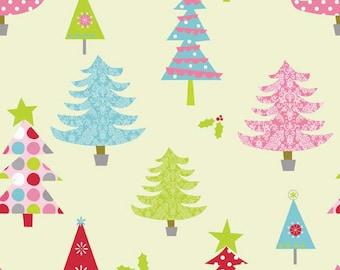 SUMMER SALE - 3 yards - Christmas Basics - Tree in Lime - Sku C900-02 - by Riley Blake Designs