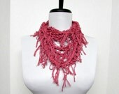 GladRagz Circle of Chains Necklace Scarf in Red - Ready to Ship Infinity Circle Shredded Knotted Crochet Silk Scarf