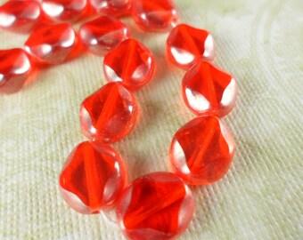 Luster Orange Diamond Window Czech Glass Beads