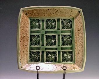 Green Ceramic Serving Platter, leaf design in green, wedding gift--MADE TO ORDER