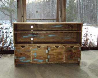 "Reclaimed Wood look Furniture 48"" wide 30"" Tall  Media Console tv stand Barn Wood Look TV Cabinet Storage Entertainment Center distressed"