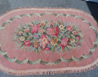 Reserved Barkcloth Era Vintage Rug French Shabby Pink