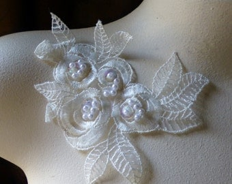 Ivory Beaded Lace Flower Applique for Lyrical Dance, Ballet, Bridal, Sashes, Headbands IA 54