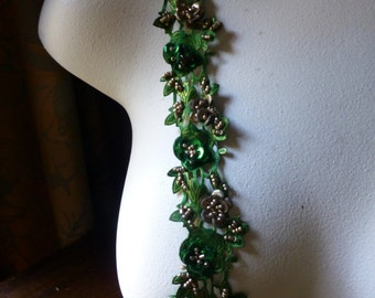 "Green Beaded Trim 18"" Satin Flowers for Lyrical Dance, Headbands, Jewelry, Costumes, Crafts"