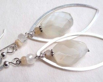 White Peach Moonstone, moonstone and sterling earrings