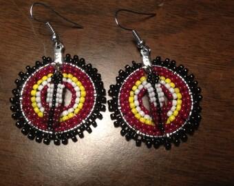 Hoop Beaded Earrings, red black yellow