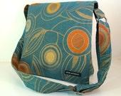 """MESSENGER BAG. Teal and gold """"Deco"""" Bag. Crossbody bag. Travel Bag. Messenger Bag. Fabric bag. Locally made. Slainte Bags. Made in USA."""