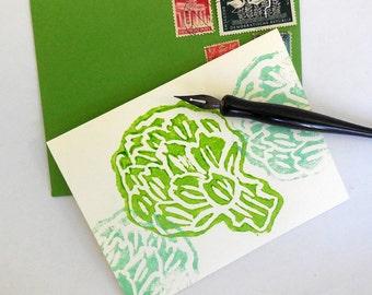 Hand Printed Cards-California Artichokes Set of 5