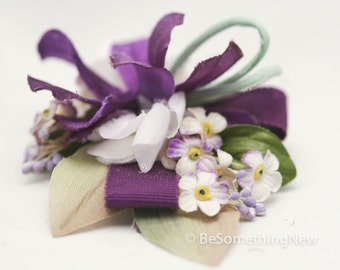 Lavender and Ivory Vintage Flower Hair Clip, Wedding Hair Acessory for Brides and Bridesmaids, Vintage Woodland Wedding Hair Clip