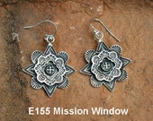 E155 The Mission Window with Framed Cross Earrings in Sterling Silver