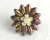 Vintage Flower Lapel Pin Pinback - Vintage Tie Tack Antiqued Gold tone