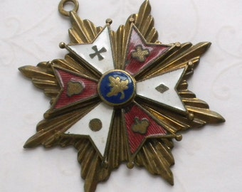 Heraldic Coat of Arms Star Enamel Gilt Pendant