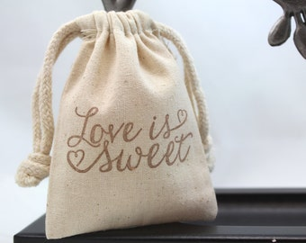 Love is Sweet Favor Bags - Set of 10 (3x4 or 4x6) - Wedding favors, Showers, Valentines
