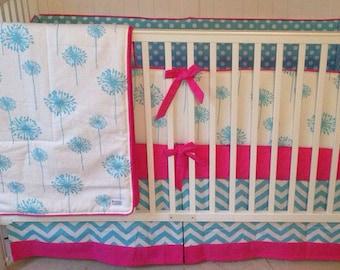 Crib Bedding Set Hot Pink and Aqua Dandelion