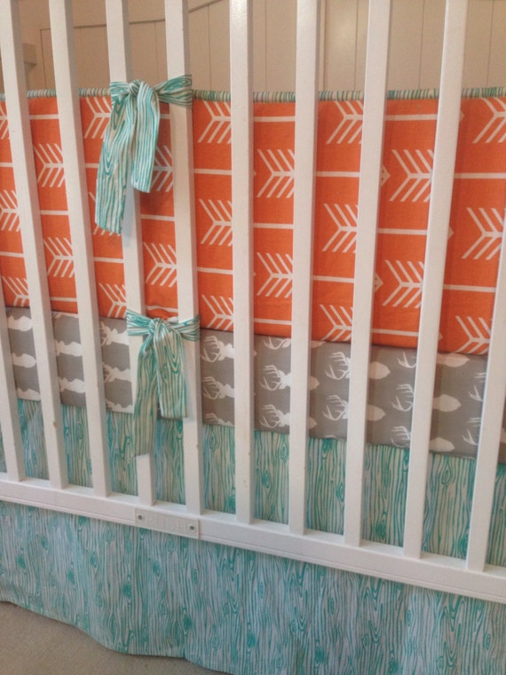 Teal Orange and Gray Deer Crib Bedding Set by