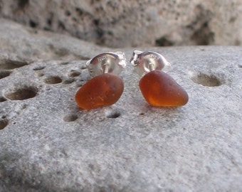 Burnt Amber Sea Glass Sterling Silver Studs Post Earrings (653)