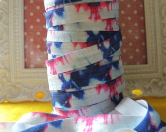 "5 Yards of 5/8"" Tie Dye Fold Over Elastics FOE (4th of July Inspired)"