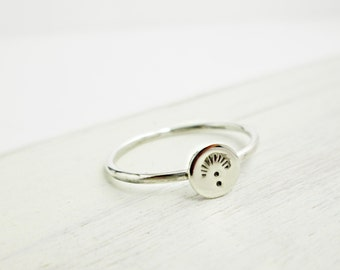 Sterling Sun Burst Ring. Small Silver Ring. Sterling Ring. Stacking Rings. Simple Slver Band.