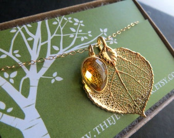 REAL leaf necklace and Citrine, November birthstone necklace, Gold leaf jewelry, Autumn necklace