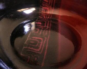 Ceramic BOWL, wheel thrown, RED and black geometric design