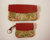 Vintage Tapestry & Leather Wallet and Coin Purse Combo