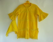VTG Boho Peasant Tunic Top / Swim Cover Up w Matching Scarf YELLOW