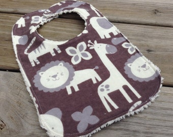 Flannel & Chenille Baby Bib, Snap Closure, Brown and Cream Jungle Animals, ready to ship